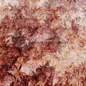 Background red texture with decorative ferns and patterns