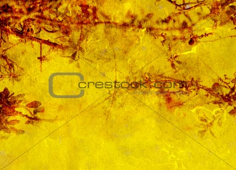Background yellow and red texture with decorative vegetal