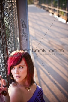 portrait of young woman in urban area