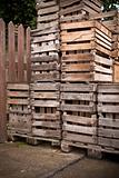 old empty apple crates stacked up