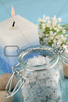 Blue bath salt