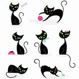 Black cat silhouette collection