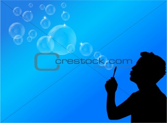blowing bubbles vector illustration