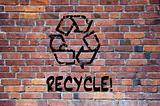 Recycle sign grafitti