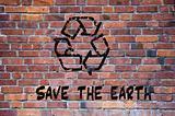 Recycle sign grafitti