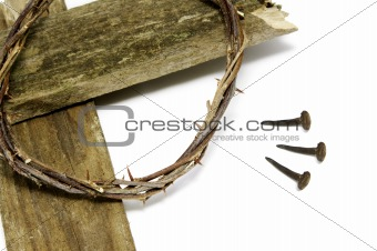 crown of thorns, cross and nails