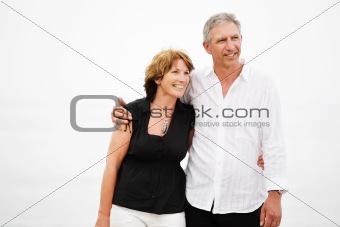 Beautiful mature couple taking a walk
