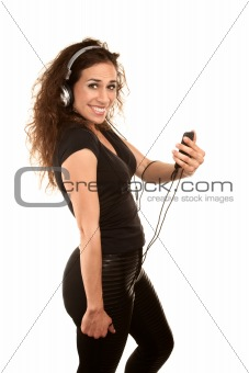 Pretty woman on white with handheld audio device