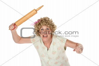 Angry dirty blonde housewife with big rolling pin
