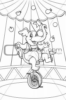Circus elephant. Color me!