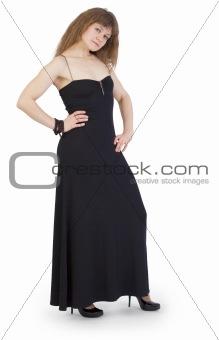 Beautiful young woman in long gown
