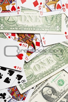 Background of playing cards and money