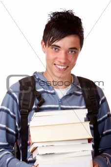 Portrait of young and handsome student holding books