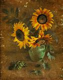Sunflowers in a vase, a still-life.