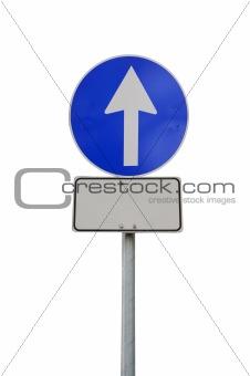 Arrow road sign with billboard