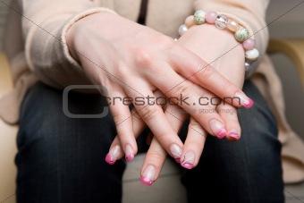 Beautiful manicured fingernails