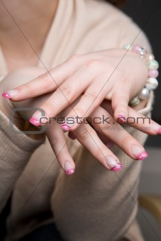 Beautiful manicured fingernails