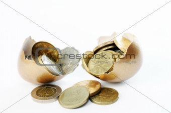Coins in broken golden eggshell