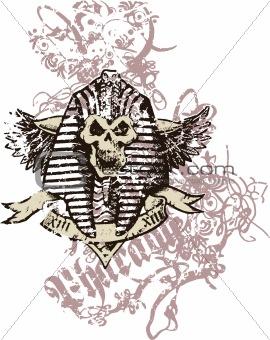 skull in egyptian pharaoh style