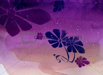 watercolor of purple flower
