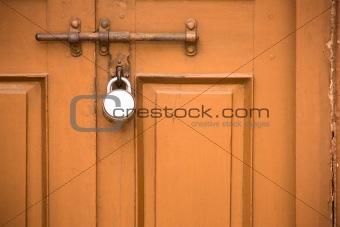 Old Closed door with lock