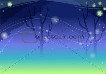 black tree with yellow stars under night sky