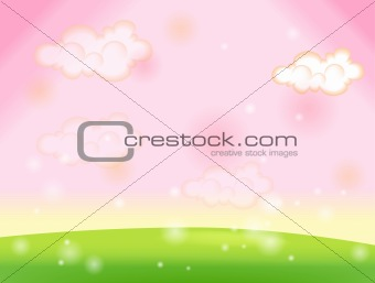 Green lawn and pink sky