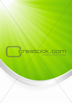 Abstract green light burst with silver