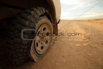 Flat Tyre in the desert of Namibia - Sossusvlei