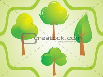 abstract green tree set