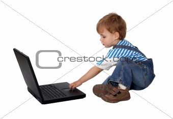 Boy Working On Notebook Over White