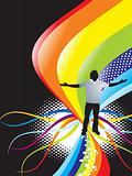 abstract rainbow wave background with standing pose of young boy vector illustrator