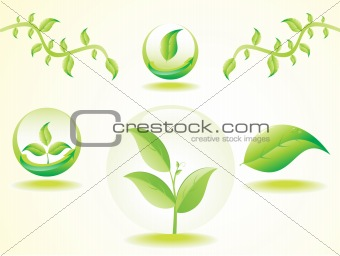abstract set of eco based green leafs