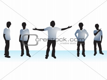 Abstract halftone background with Illustration of boy silhouttes