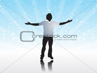 Abstract halftone background with Illustration of boy silhouttes feeling peace