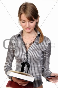 Beautiful businesswoman with  book