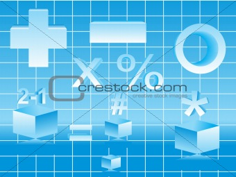 abstract mathematical objects on blue color theme based vector illustration