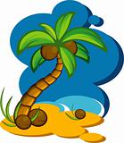 Vector illustration with a coconut palm