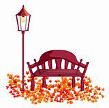 wood chair, street lights, maple leaves