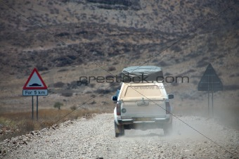 Offroad on gravel roads in Namibia - Kaokoland