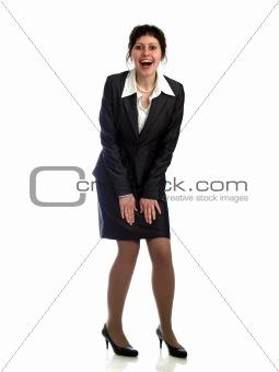 Business lady on heels surprised