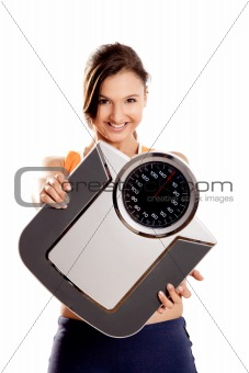 Athletic girl with a scale