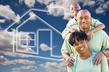 Happy African American Family Over Clouds, Sky and House Icon.