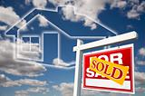 Sold For Sale Real Estate Sign Over Clouds, Sky and House Icon.