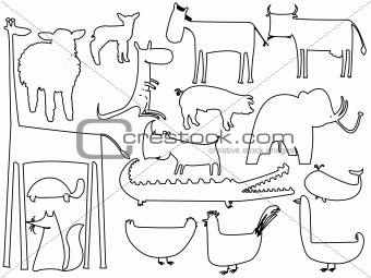 animal black and white silhouettes isolated on white background