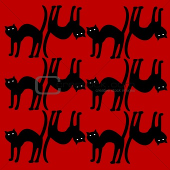 cat pattern isolated on red background