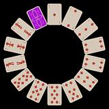 circle shape diams playing cards isolated on black