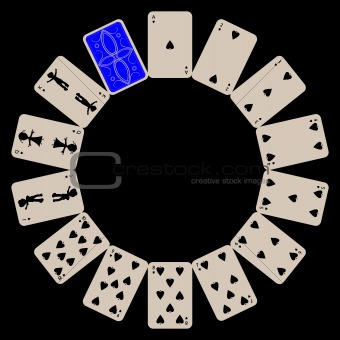 circle shape spades playing cards isolated on black