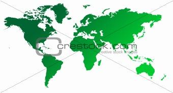 Green gradient map of World