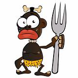 funny cartoon cannibal with fork